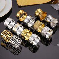 Gold prata guardanapo anel aço inoxidável guardanapo de aço fivela hotel mesa de casamento decoração toalhas decoração escavar anéis hwb7475