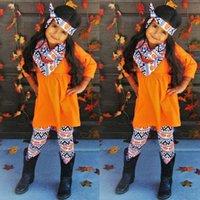Halloween Thanksgiving Baby Abbigliamento set da ragazzi Ragazze Girls Pumpkin Turchia Stampato Abito a maniche lunghe Pantaloni Top Pantaloni Sciarpa Infantile Abiti 1327 B3