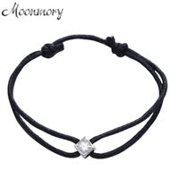 Bangle Moonmory France 925 Sterling Silver Square Stone Bracelet For Women Pulseira Black Rope Wedding Adjustable