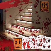 Decoración de la fiesta Halloween Horrible sangriento Handprint Pegatinas Ventana Pared Clings Calcomanías de piso Props