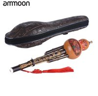 Chinese Handmade Hulusi Black Bamboo Gourd Cucurbit Flute Ethnic Musical Instrument Key of C with Case for Beginner Music Lovers