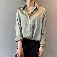Camicie da donna a maniche lunghe bianche vintage Signore Elegante Elegante Camicia da ufficio coreano Moda Bottone Up Satin Seta Shirt Camicia Camicetta Donne
