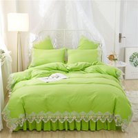 Bedding Sets Green Korean Style Set Twin Queen King Girls Lace Bed Duvet Cover Skirt Or Fitted Sheet Bedclothes