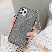 Gitter Luxus Strass-Kristall-Leahter-Handy-Abdeckung Mode-Diamant mit Kettenlanyard-Telefonkasten für iphone 12 mini 11 pro max