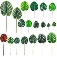 Decorative Flowers & Wreaths Artificial Monstera Plants Leaves Leaf-shaped Green Plastic Tropical Palm Tree Pography