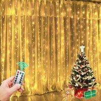 300 LED luces de cadena LED Decoración de Navidad Control remoto USB Boda Cortina de guirnalda 3MX3M lámpara de vacaciones para bulbo de dormitorio GWF9367