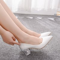 Dress Shoes Transparent female high heels shoes, four-inch queen's and crystal, white satin, wedding shoes Z9VX