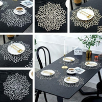 Novo ouro prata pvc placemat mesa de jantar mesa lavável jantar festa de casamento pacotes flor design porta copos decorativa mesa de almofada de mesa