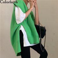 Colorfaith Autumn Winter Y2K Women Pullovers Waistcoat Sweater Vest Knitted Irregular Split Retro V-neck Tops SWV88878 210824
