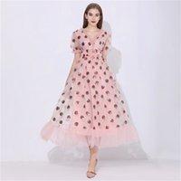 Pailletten Erdbeerkleid Frauen Elegantes langes Kleid V-Ausschnitt Hauch Ärmel Mesh Sexy Party Kleider Vintage Floral Kleid Frauen Robe 210311