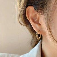 Hoop & Huggie Ghidbk Vintage Delicate Zircon Triangle Earrings For Women Girls Simple Metal Circle Sweet Jewelry Gift