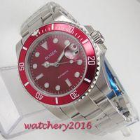 Наручные часы 40 мм Сапфировый вращающийся безрельпрозрачный красный Bliger Case Case Miyota 8215 NH35 Mens Mens