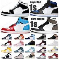 vendendo pinho verde preto 1s sapatos de basquete jumpman 1 sneakers masculinos sneakers destemido obsidian Unc patente ouro black toe treinador