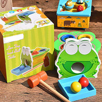 1 PC 다채로운 나무 만화 동물 개구리 구토 공을 가족 게임 퍼즐 교육 장난감 게임 아기 아이들 타악기 장난감 노크 A0521