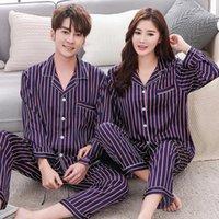 Casal piama conjuntos de seda cetim listrado sleepwear dele-e-dela casa terno pijama para amante homem mulher amantes