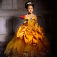 Charming A Line Yellow Flower Girls' Dresses Off the Shoulder Appliques Beaded Little Girls Birthday Dress Cheap Communion Gown