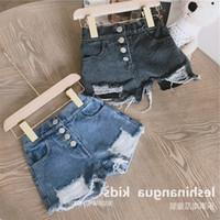 SK Ins Çocuklar Kız Kot Şort Delik Cepler Stil Yaz Çocuk Denim Kısa Pantalones Cortos Çocuklar Sıcak Pantolon