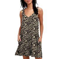 Casual Dresses Women Leopard Print Tank Dress Summer Sleeveless V-Neck Loose Beach For Party