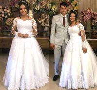 Plus Size 2021 Long Sleeve African A-Line Wedding Dress Floor length Flower Lace Appliques Bridal Gown For Women Brides Elegant robes de mariée AL9543