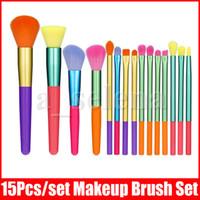 Face Eye Makeup Brush Set 15 Pcs Colorful Handle Brushes kit Eyeshadow Eyeliner Blending Eyelash Lip Brushes Cosmetic Eyebrow Make Up Tool
