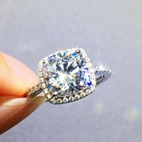 Wedding Rings Lovers Ring 925 Sterling Silver Cushion Cut 3ct Cubic Zirconia Enagement Band For Women Bridal Finger Jewelry Gift