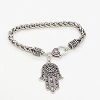 Palm Pendant Vintage Metal Chain Bracelet Hand Style Charm Bangle Bracelets for Women Jewelry
