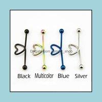 Boucles d'oreilles bijoux en acier inoxydable coeur en forme de coeur en forme de cartilage piercing barbell oreille helix tragus goujon bijoux de mode aessories dr