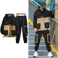 2021 Yeni Kore Streetwear Toplamlar Hip Hop Ceket Sweatpants Erkek İhale Koşucular A0B1