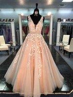 Chic Beautiful Long A-line V neck Applique Wedding Dress Beading Sash Peach Formal Dress Bridal Dress