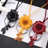 Pendant Necklaces WNGMNGL 2021 Women Long Vintage Genuine Leather Flower Necklace For Charm Statement Fashion Jewelry