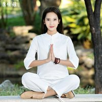Summer Women Tai Chi Kungfu Meditation Uniforms Cotton Linen Loose Sweatshirt+pant Casual Workout Outfit Yoga Martial Arts Set Outfits