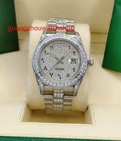 Высококачественные автоматические мужские часы 41 мм серебряные каменные камни BEZEL и Diamonds в середине браслета арабских цифр набирают полные работы наручные часы.