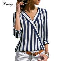 Yming Striped Parted Boho Chiffon Женщины Блузка V-образным вырезом Офисные Дамы Топы Длинные Рукавы Повседневная Рубашка Blusas Mujer de Moda 2021