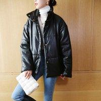 Jaquetas femininas outono e inverno mulheres jaqueta curto faux couro preto manga comprida solta tartleneck único casaco breasted
