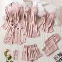 5 unids rosa seda traje de sueño para mujer encaje satinado pijamas vestido conjunto v-cuello cami nighties use pijama hogar ropa de noche primavera pijamas Q0720