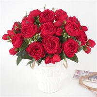 Декоративные цветы венки 30 см роза красный шелковый пион искусственный букет 5биг голова и 4bud с поддельным цветком ручной работы дома свадебные декоративные