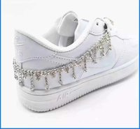 1 piece fashionable Crystal Rhinestone shoelace tassel chain shoes decorate women's DIY shoe accessories with luxury sneakers G1022