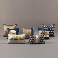Kudde / dekorativ kudde Kinesisk Silk Satin Tryckkudde Bäddsoffa Sittkudde Skal Midja Modellrum Bedside