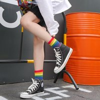 Socks & Hosiery Fashion Couple Men Women Cotton Harajuku Rainbow Print Stripe Cute Hip Hop Street Skateboard Happy Funny Short
