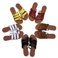Zapatillas Mujer Playa Toe antideslizante Slipper Roma Tamaño grande Plano Fondo de verano Resbalón de moda en diapositivas Zapatos de sandalia femenina