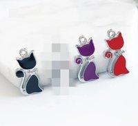 20pcs Three Colores Esmalte Cat Hang Collant, Cuello Charm Fit DIY Teléfono Tiras DIY Accesorio Aleación de zinc