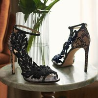 Nouveau Sandales creuses Sandales Femmes Party High High Talons Sexy Sandalias Femelle Stileto Strass Strass Chaussures De Mariage Femmes Zapatos Femenino