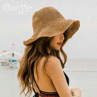 foldable Summer Women's Sun Hat Bucket cap beige lace Bowknot Flowers Ribbon Flat top Panama soft Straw Beach Caps 210611