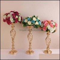 Décor & Garden10Pcs Lot Creative Hollow Gold Metal Candle Holders Wedding Road Lead Table Flower Rack Home El Vases Decoration Drop Delivery