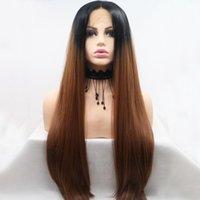 Vermelho Ombre Brown perucas dianteiras perucas sintéticas de cabelo sintético pré arranjaram raízes escuras longas longas diariamente parte diária Lace frontal para mulheres