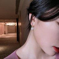 Stud V-543 S925 Silver Needle Korean Baroque Style Pearl Flower Diamond Net Red Temperament Earring Earrings Female