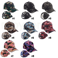 Casquette de baseball de queue de baseball de camouflage Casquette Cross Washed Ball Casquettes Mode Camouflage High Messy Party Chapeaux Fournitures RRA4159