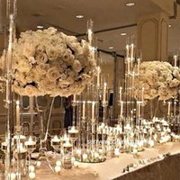 Party Decoration Style Crystal Clear Candelabra Wedding Centerpieces 8 Arms Acrylic Candle Holder For Table 1416