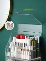 Cajas de almacenamiento bins plástico transparente maquillaje organizador a prueba de polvo escritorio grande joyería vanidad organizadores organizadores caja 50Hz