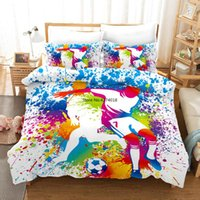 Bedding Sets 3D Set Football Theme Printed Duvet Cover Single Double King Size Easy Clean For Boys Girls Adults 240x220cm